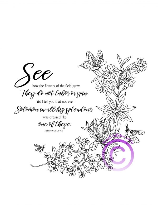 PDF Artwork Bees and Wildflowers Matthew 6 v 28 to 29 Black