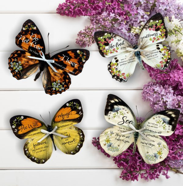 Set of four 3D Bible Verse Butterflies