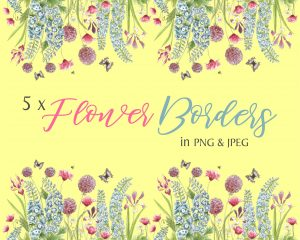 Summer Flowers Instant Download Borders Cream Background