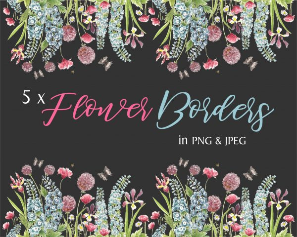 Summer Flowers Instant Download Borders Dark Background
