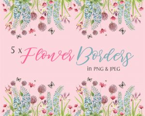 Summer Flowers Instant Download Borders Pink Background
