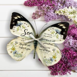Matthew 6 v 28 to 29 3D Handmade Bible Verse Butterfly