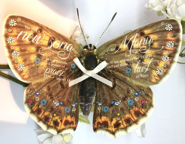 Psalm 40 v 3 He put a new song in my mouth 3D butterfly Gift 2