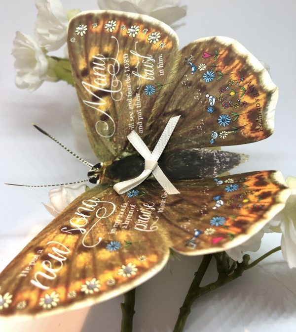 Psalm 40 v 3 He put a new song in my mouth 3D butterfly Gift 3