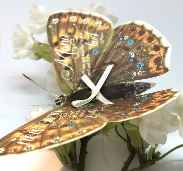 Psalm 40 v 3 He put a new song in my mouth 3D butterfly Gift 4