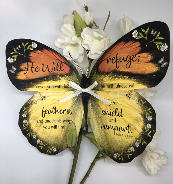 Psalm 91 v 4 No 2 Handmade Bible Verse Butterfly