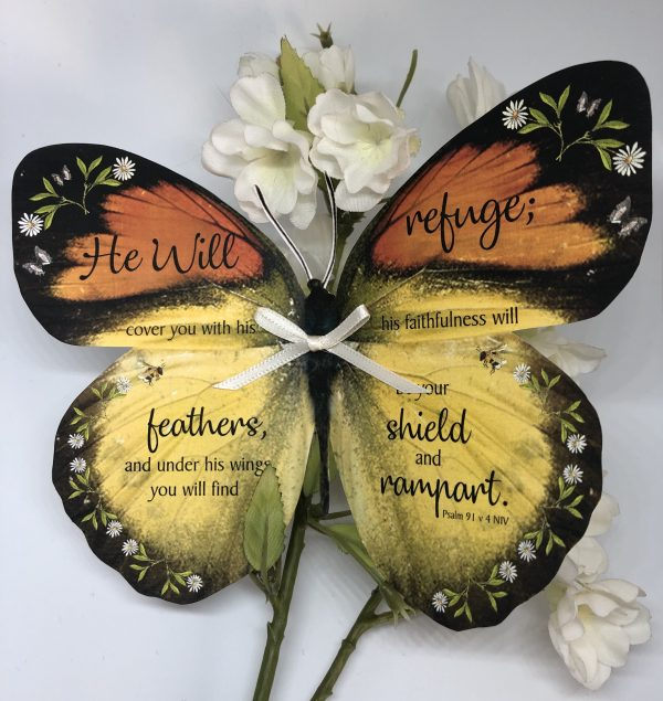 Psalm 91 v 4 No 3 Handmade Bible Verse Butterfly